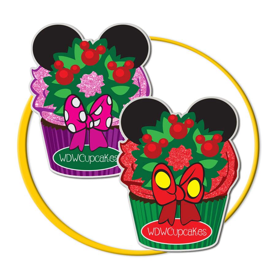 Mickey & Minnie Wreath Cupcake Pin Set